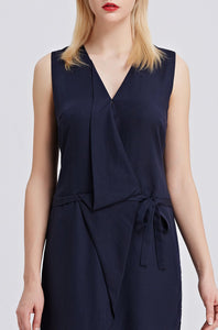 Sleeveless-V-Neck-Sheath-Dress-Navy-Details