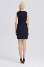 Load image into Gallery viewer, Sleeveless-V-Neck-Sheath-Dress-Navy-Back