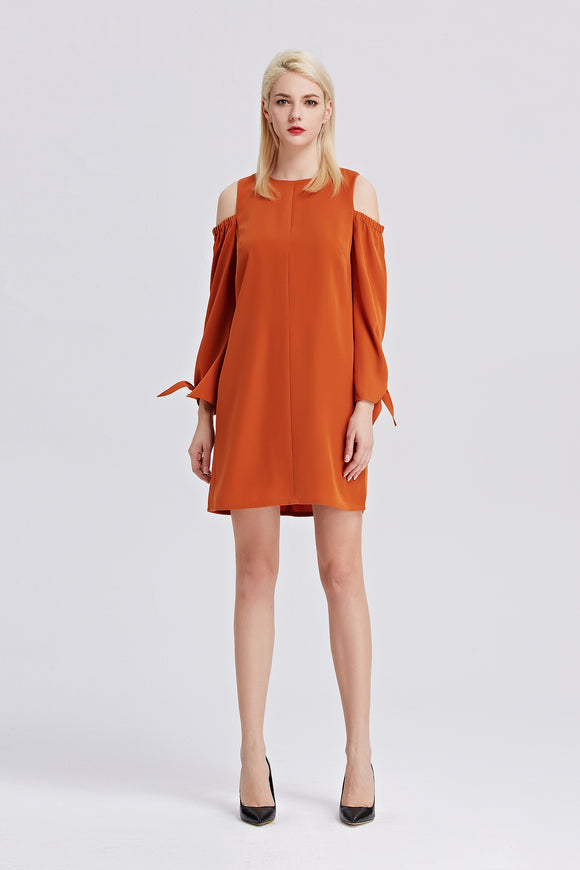 Open-Shoulder-Shift-Dress-Rust