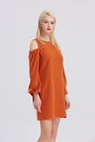 Open-Shoulder-Shift-Dress-Rust-Side