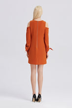 Load image into Gallery viewer, Open-Shoulder-Shift-Dress-Rust-Back