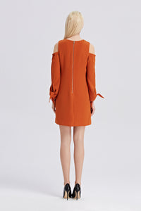 Open-Shoulder-Shift-Dress-Rust-Back