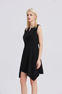 Black-Sleeveless-A-Line-Dress-Side