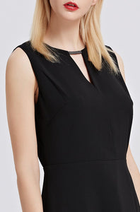 Black-Sleeveless-A-Line-Dress-Details