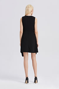Black-Sleeveless-A-Line-Dress-Back