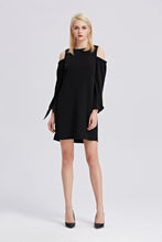 Load image into Gallery viewer, Open-Shoulder-Shift-Dress-Black-Main
