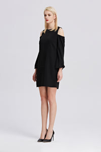 Open-Shoulder-Shift-Dress-Black-Side