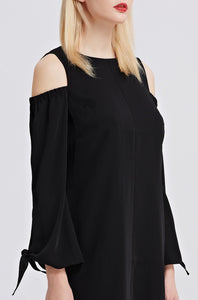 Open-Shoulder-Shift-Dress-Black-Details