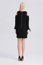 Load image into Gallery viewer, Open-Shoulder-Shift-Dress-Black-Back