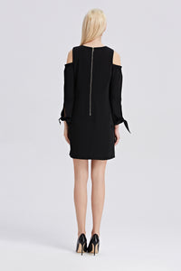 Open-Shoulder-Shift-Dress-Black-Back