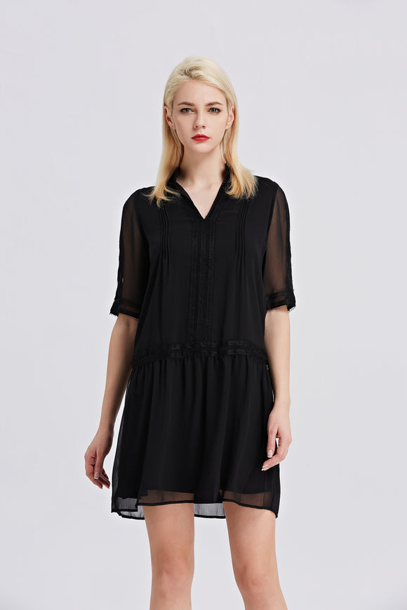 Classic-Chiffon-Shift-Dress-Black-Main