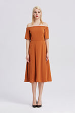 Load image into Gallery viewer, Off-The-Shoulder-Midi-Dress-RUST-Main