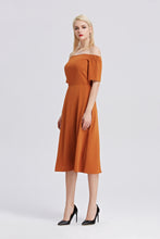 Load image into Gallery viewer, Off-The-Shoulder-Midi-Dress-RUST-Side