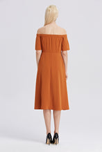 Load image into Gallery viewer, Off-The-Shoulder-Midi-Dress-RUST-Back