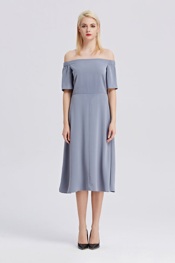 Off-The-Shoulder-Midi-Dress-Blue-Main