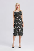 Load image into Gallery viewer, Strappy-Midi-Floral-Print-Dress-Full