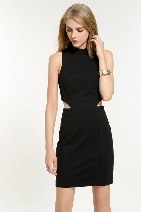 Pencil-Cut-Out-Dress-Black-Front
