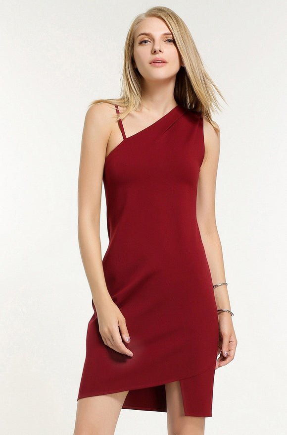One-Shoulder-Sheath-Dress-Maroon-Details