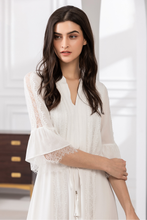 Load image into Gallery viewer, Ava-V-Neck-Lace-White-Dress-Details