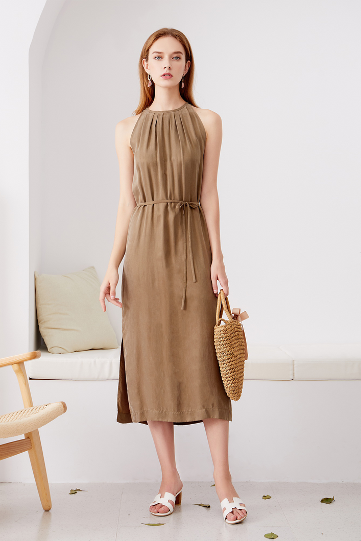Cupro-Maxi-Khaki-Dress-1