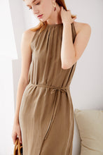 Load image into Gallery viewer, Cupro-Maxi-Khaki-Dress-2