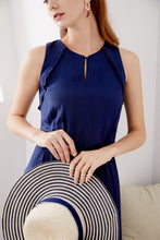 Load image into Gallery viewer, Marisa-Sleeveless-Navy-Dress-Details