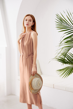 Load image into Gallery viewer, Cupro-Maxi-Dress-Beige-4
