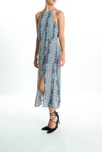 Load image into Gallery viewer, Andrea-Pattern-Blue-Maxi-Dress-Side