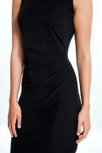 Load image into Gallery viewer, Intermax-Ruched-Black-Dress-Detailed