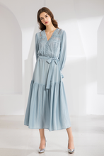 Load image into Gallery viewer, Gingham-Maxi-Dress-Blue-2