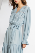 Load image into Gallery viewer, Gingham-Maxi-Dress-Blue-3-Details