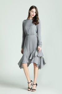 Lorraine-Polka-Dot-Dress-Grey-Full