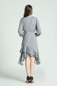 Lorraine-Polka-Dot-Dress-Grey-Back