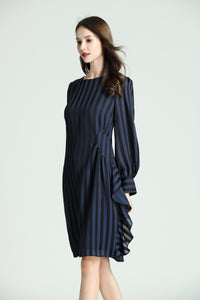 Elise-Striped-Dress-Navy-Side