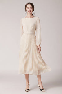 Camille-Pleated-Dress-Cream-Main