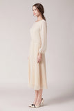 Camille-Pleated-Dress-Cream-Side