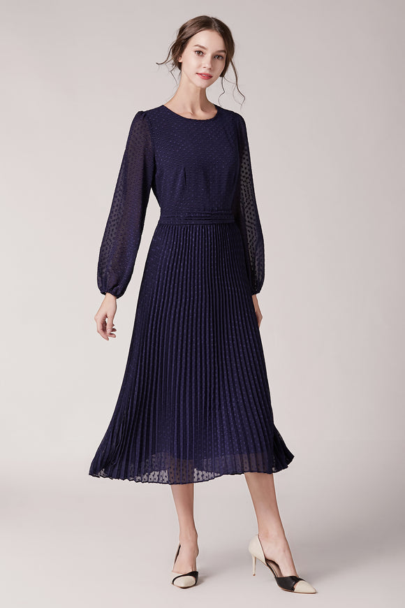 Camille-Pleated-Dress-Navy-Main