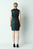 Asteria-Two-Tone-Sheath-Dress-Khaki-Back