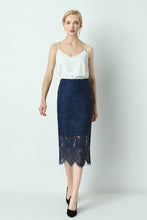 Load image into Gallery viewer, Alaya-lace-pencil-skirt-navy-main