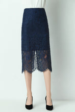 Load image into Gallery viewer, Alaya-lace-pencil-skirt-navy-details