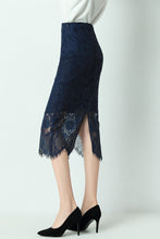 Load image into Gallery viewer, Alaya-lace-pencil-skirt-navy-side
