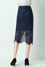 Load image into Gallery viewer, Alaya-lace-pencil-skirt-navy-back