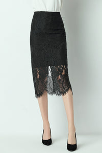 Alaya-Lace-Pencil-Skirt-Black-Front
