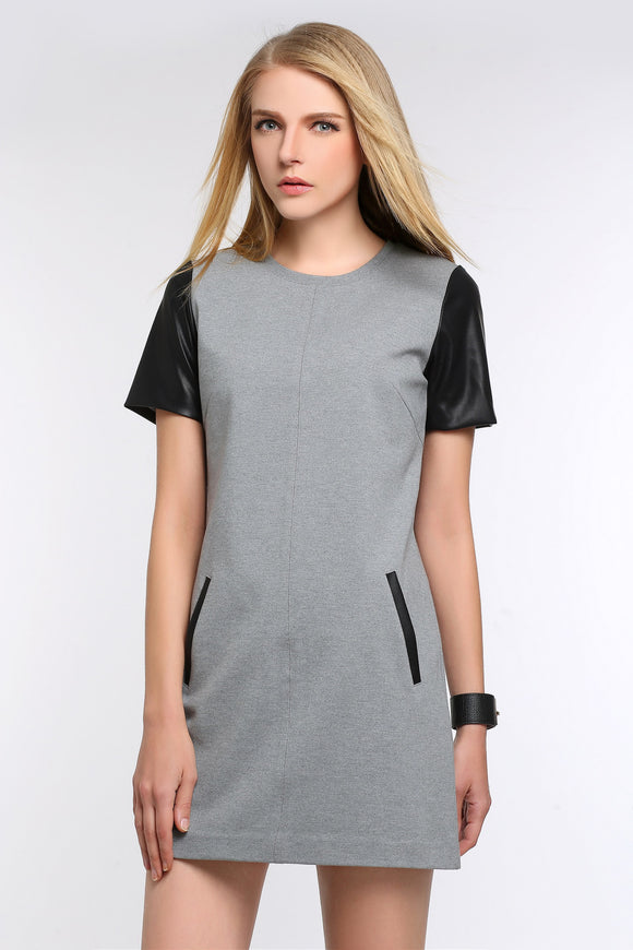 FAUX-LEATHER-SLEEVED-SHEATH-DRESS-GREY-MAIN