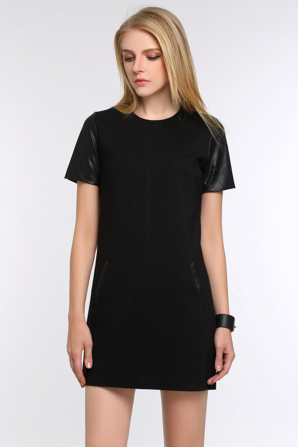 FAUX-LEATHER-SLEEVED-SHEATH-DRESS-BLACK-MAIN