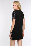 FAUX-LEATHER-SLEEVED-SHEATH-DRESS-BLACK-BACK