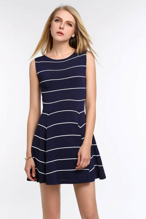 Striped-A-Line-Dress-Navy-Main