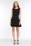 Striped-A-Line-Dress-Black-Full