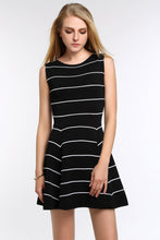 Load image into Gallery viewer, Striped-A-Line-Dress-Black-Focus