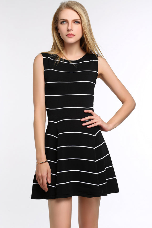Striped-A-Line-Dress-Black-Main